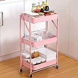 Trolleys Rollwagen 3-stufiger Faltbarer Küchenwagen Multifunktions Aufbewahrungsregal Wagen mit 4 Stumm Rädern Max.60KG für Küche Wohnzimmer Büro Badezimmer (Rosa)