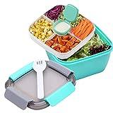 Cslada Lunchbox 1.5 Liter Salatbehälter mit Getrenntem Dressingtöpfe und Besteck, Auslaufsichere Salatschüssel to Go mit 3 Fächern für Salattoppings und Snacks, Salatbox aus Kunststoff (Grün)