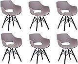 SAM 6er Set Schalenstuhl Lea, Taupe, ergonomisch geformte Sitzschale aus Kunststoff, bequemer Esszimmerstuhl im Retro-Design, schwarzes Holzgestell