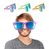 Relaxdays Partybrille, Blaue XXL-Gläser aus Kunstoff, Kostümzubehör, Bunt, Karneval, JGA, Sternchen, 25cm breit, Farbe