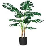 CROSOFMI Kunstpflanze Plastik Monstera Künstliche Pflanze Palme Groß im Topf Dschungel Tropical Hawaii Stil Fake Plant Wohnzimmer Balkon Schlafzimmer Grün Deko(1 PACK)
