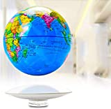 XUSHEN-HU Schwimmender Globus mit rotierender kabelloser Übertragung, Touch-Steuerung, 20,3 cm, LED, blaue Kugel und weiße Plattform, Kinder, Geschenk, Heimbüro, Dekoration, Weltkugel