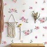Romantisch Wandtattoo Blumen Rosa | Rosen WandSticker für Mädchen Schlafzimmer | Aquarell Pfingstrose Blumen | Pflanzen aufkleber | Blumen und Blätter Wandaufkleber für Wohnzimmer Hochzeitsfeier Deko