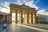 Holz-Bild 60 x 40 cm: The Brandenburg Gate in Berlin at Sunrise, Germany, Bild auf H