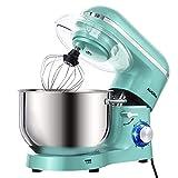 Aucma Küchenmaschine 1400W mit 6,2L Edelstahl-Rühlschüssel, Rührbesen, Knethaken, Schlagbesen und Spritzschutz, 6 Geschwindigkeit Geräuschlos Teigmaschine, Blau