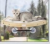 Pecute Katzen Fensterplätze (42 * 30 * 6.5cm), Katzen Hängematte Sisal mit 2 in 1 Katzen Kratzbaum, Massivholzrahmen, Eisenhalterung und leistungsstarker Saugnap