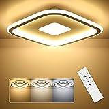 SHILOOK LED Deckenleuchte Dimmbar Flach, 28W Deckenlampe mit Fernbedienung Quadratisch 3000k-6500k, für Schlafzimmer/ Kinderzimmer/ Wohnzimmer/ Küche, 30cm Weiß Modern Ultradünn