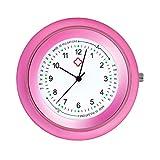 Ellemka - JCM-2103 NN H+ PS Stethoscope Krankenschwesteruhr Ansteckuhr Stethoskop Analog Pulsskala Anzeige Quarz Digitales Uhrwerk Pflege Medizin Schwestern - Pink Rosa