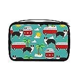 Transparente Kulturtasche für Damen, Reisetasche, Kosmetiktasche mit Haken zum Aufhängen für Toilettenartikel, Zubehör (Australian Shepherd Sommer)