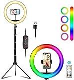 Hjstdo 10 Zoll LED Ringlicht Fülllicht Kit, 4 RGB Selfie Ringleuchte mit Stativ 160CM Teleskopstange + Handyhalter, 26 Farben Schleifenblitz für Make-live Fotografie, Video Aufnahme, YouTube