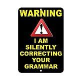 HUIOP Blechschild mit englischer Aufschrift 'Warning I Am Silently Correcting Your Grammar', 20,3 x 30,5 cm