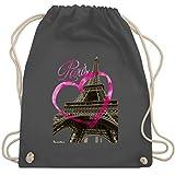 Shirtracer Städte - I love Paris - Unisize - Dunkelgrau - eifelturm - WM110 - Turnbeutel und Stoffbeutel aus Baumwolle