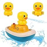 Voohek Baby-Badespielzeug, Springbrunnen gelbe Ente Spielzeug 3 Sprühmodi schwimmende Badewanne Ente Boot Sprinkler für Kleinkinder Kinder 3 4 5 Jahre alt