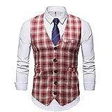 YFQHDD Westen Männer formale Weste Männer Casual Anzug Weste Baumwolle Produkte Plaid Button Tür Taschendekoration (Color : E, Size : XXL code)