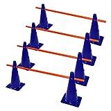 RHINOS sports Steckhürdenset 4er | 8 Blaue Kegel: 38cm | 4 rote Stangen: 1