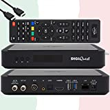 TiVuSat Karte 4K UHD + DIGIQuest Q60 Combo Receiver 4K H.265 S2+T2 HEVC Set-Top Box, zertifizierter TiVuSat Receiver mit Karte, Mediaplayer, WebRadio, USB PVR, EasyMouse HDMI