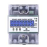 Stromzähler 220 / 380V 5-80A Energieverbrauch Digitaler Stromzähler Wechselstromzähler 3-Phasen 4-Draht KWh Zähler mit LCD Zwischenzähler Wechselstromzähler für DIN Hutschiene Leistungsmesssystemen