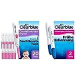 Clearblue Kinderwunsch Ovulationstest Digital - Fruchtbarkeitstest für Eisprung, 20 Tests & Schwangerschaftstest Schnell & Einfach, Über 99 Prozent zuverlässig, 2 Tests