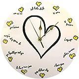 XXSCXXSC Wanduhr Loving You Romantic Confession Wandquarz Stille Uhr 12 Verschiedene Sprachen Gedruckte Wanduhren Dekor Silent L