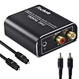 DA Wandler Techole 192KHz DAC Digital SPDIF Toslink zu Analog Stereo Audio Konverter mit Optischem Kabel, R/L 3.5mm Jack, Netzteil 5V/DC, Audio Converter für PS3, PS4, Xbox, HD TV, Sky, Apple TV