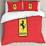 Ferrari Bettwäsche 228x264 cm 3 teilig Uni Microfaser Bettbezug mit Kissenbezug 50x75 cm