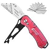 BIBURY Metall Cuttermesser, 2 in 1 Teppichmesser Profi, 3rd Generation Universal-Klappmesser, Universalmesser mit 10 SK5 Edelstahl Klingen, Safety-Lock Design - R