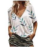 Liably Kurzarm-T-Shirt mit Federdruck für Damen Tops Fashion Concise Spring/Summer, mit Motiv, lässigen, malerischen Blumen, Print-T-Shirt mit Rundhalsausschnitt Weiß XX-Large