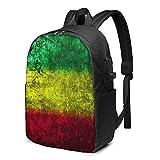 XCNGG Reggae Rasta Flag Lion. Travel Laptop Rucksack, Rucksack mit USB-Ladeanschluss, für Männer Frauen Passend für 17 Zoll