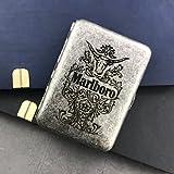 XIAOXIA Doppelt Offener Reines Kupfer 16 Zigarettenetui Geschnitzt Marlboro Tragbare Männer Zigarettenhalter Kreative Antike Silber