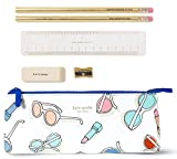 Kate Spade New York Pencil Case Including 2 Pencils, Sharpener, Eraser, and Ruler School Supplies, Sun's Out