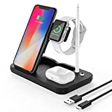 Kabelloses Ladegerät 4 in 1 Qi Induktive Ladestation Wireless Charger Schnelles Kabelloses Ladegerät für iWatch Airpods Pro iPhone 12/SE/11/X/XR/Xs Max/8 Samsung Galaxy S20/S10 usw.