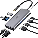 USB-C-Adapter, USB-C auf HDMI und VGA, Ethernet RJ45, Audio-Anschluss, SD/TF-Karte, 100 W, USB 3.0 Ports, 10-in-1-Hub, kompatibel mit MacBook Pro/Air 2020 Dell XPS Tablet Typ C