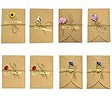 8 Stück Vintage-Postkarten, 17,5 x 11 cm, getrocknete Blumen mit Postkarte, Karten mit Umschlag, handgefertigt, Retro-Kraftpapier für Grußkarten, Muttertag, Karten, etc.