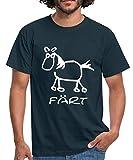 Färt Lustiges Pferd Zeichnung Männer T-Shirt, XXL, Navy