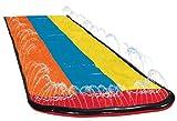 Easy-topbuy Rasen Wasserrutschen Für Garten 550x210CM, 3 Bahnen Slip Und Rutsche Mit Wasserspray, Extra Dicke PVC Wasserrutschen Wasser Spielzeug