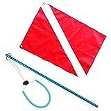 sharprepublic Red & White Scuba Dive Diver Down Flag Boot Flag Marker & Stick Pointer Rod