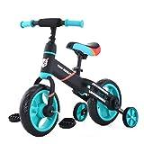 Laufräder Laufrad Mit Stützrädern und Pedalen, 4-in-1-Kinderdreirad für Jungen und Mädchen im Alter von 2 bis 5 Jahren (JL102, Blau)