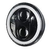 Motorrad Scheinwerfer,Zusatzscheinwerfer 5,75 Zoll Schwarz Scheinwerfer Projektor Halo Ring High Balg Motorrad 5 DRL Turn Signal Passend Für Sportster Dyna Eisen 883