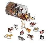 Terra AN6004Z 60-teilig Tierfiguren Sammlung Wildtiere Set – Löwe, Tiger, Zebra, Nilpferd, Elefant, Elch, Kamel und mehr – Spielzeug ab 3 Jahren, Bunt