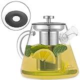 SILBERTHAL 2-in-1 Teekocher & Teekanne Glas mit Siebeinsatz aus Edelstahl - 1,5 Liter - Für alle Herdarten, auch Induk