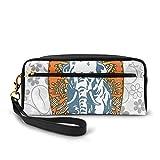Federmäppchen aus PU-Leder, für Surfbretter und Elefanten, florales Hintergrund, Aloha, Werbung, Sportler, Federtasche, Make-up-Tasche