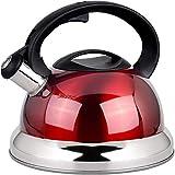 ASDFDG Herd Wasserkocher 3L Herd Top Pfeifende Teekanne Ergonomisch Edelstahl hitzebeständiger Griff leicht zu reinigen Haushaltsküche Teekanne rot