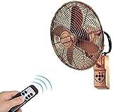 YZPDD 16-Zoll-Retro-antike Wandmontierter Fan - Fernbedienung enthalten - 3-Gang-Einstellungen - Industrieller Wandventilator Oszillierender Auspuffventilator, Haushaltsmetall-Schüttelkopf-F