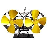 WYJW Holzofenlüfter, geräuschloser Kaminlüfter mit 8 Flügeln, wärmebetriebener Nicht elektrischer Umweltschutzlüfter, für Holzkamin, umweltfreundliche und effiziente Wärmeverteilung, Go