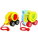 ponny Nachziehspielzeug für Kleinkinder und Kleinkinder, aus Holz, Schnecken-Igel mit Glocken-Sound (Schnecke)