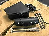 CLEAN Black Komplettset Satteltaschen + Werkzeugrolle Sportster 1200 883 Rolle + Tasche Lenkerrolle schwarz Leder orletanos bikertaschen Set Harley Davidson hd Iron XL 48