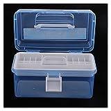 Kleine Werkzeugkiste 2 Schichten Werkzeugkasten Kunststoff Organizer Aufbewahrungskoffer mit Griff tragbar für Heimstudienarbeit Nähen Malerei Reparatur Transparent Blau Teileaufbewahrungsbox