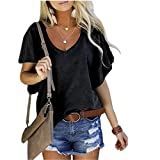 ABUCIYO Womens Summer Casual V Neck Short Sleeve Solid T Shirt Loose Tunic Blouse Tops (A,M)