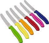 Sxfcool 6-teiliges Tafelmesser-Set mit Wellenschliff in Grün, Rot, Blau, Gelb, Pink, Orange