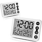 Tooltoo Thermometer Hygrometer 2er-Set Temperatur- und Feuchtigkeitsmesser Raumthermometer Wecker mit LCD-Monitor Magnetische Rückseite Wecker für Babyzimmer, Wohnzimmer, Büro, Gew